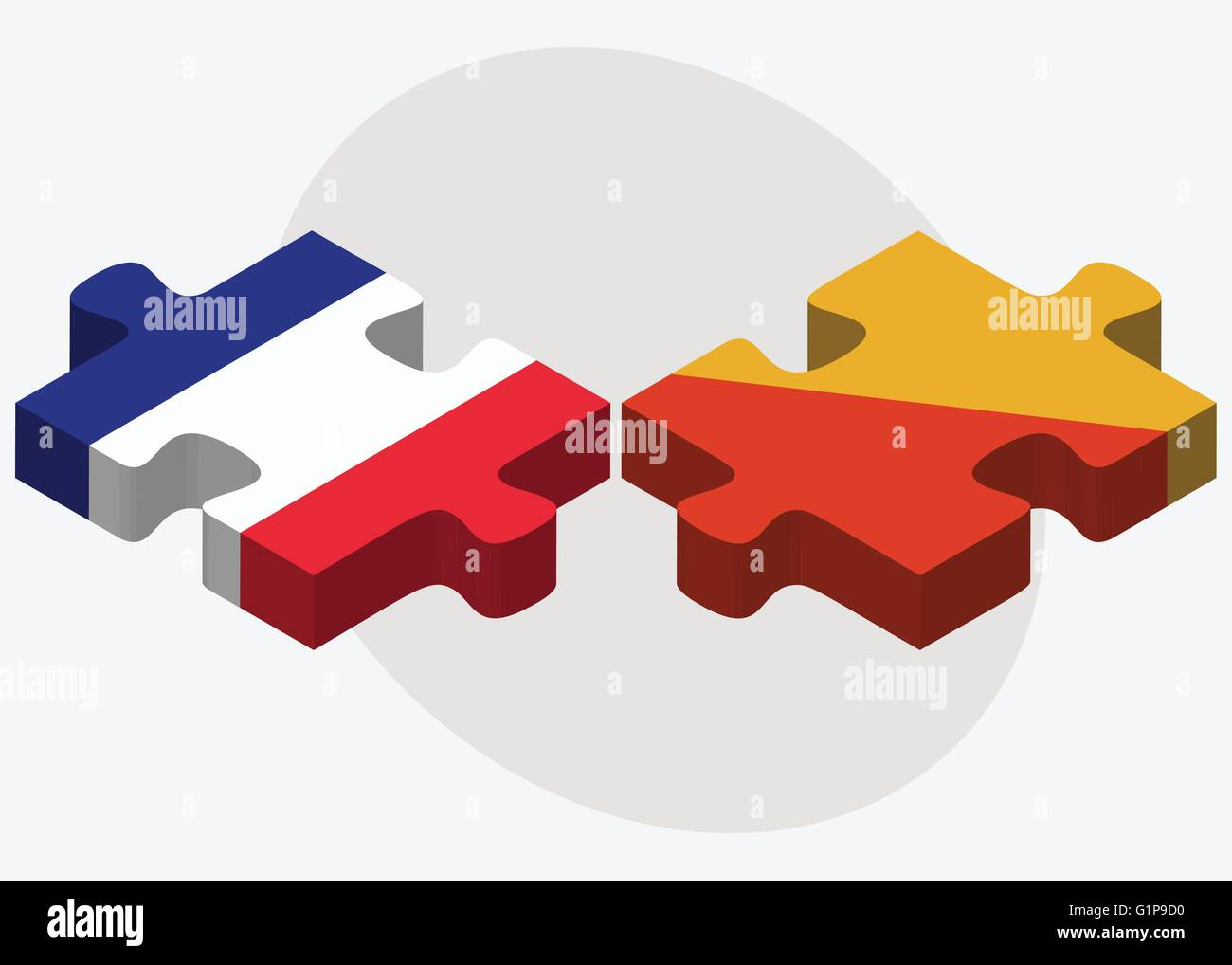 France and Bhutan Flags in puzzle  isolated on white background - Stock Vector
