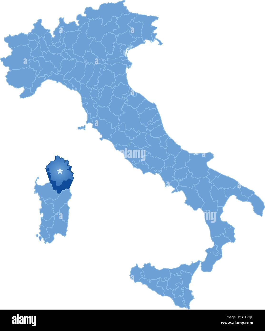 Map of Italy where Olbia-Tempio province is pulled out, isolated on white background - Stock Image