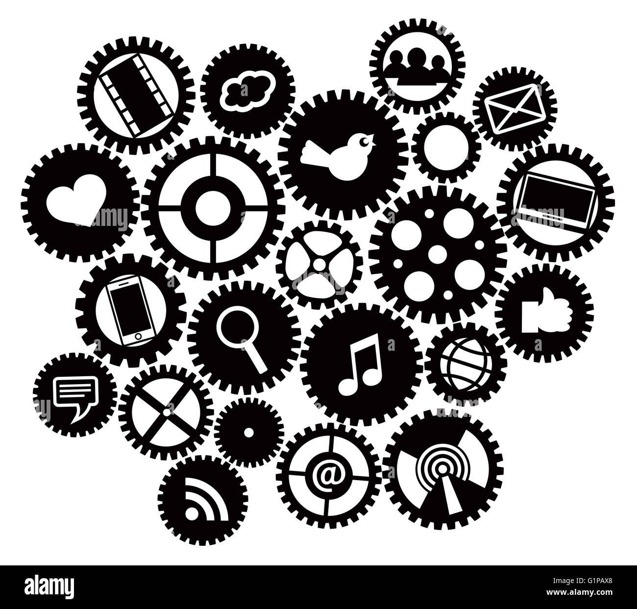 Machine Gears With Social Media Symbols Black Isolated On White