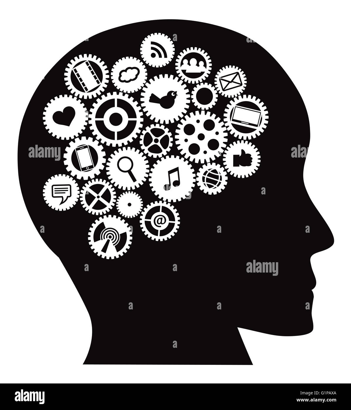Machine Gears Inside Human Head With Social Media Symbols Black Isolated On White Background Illustration