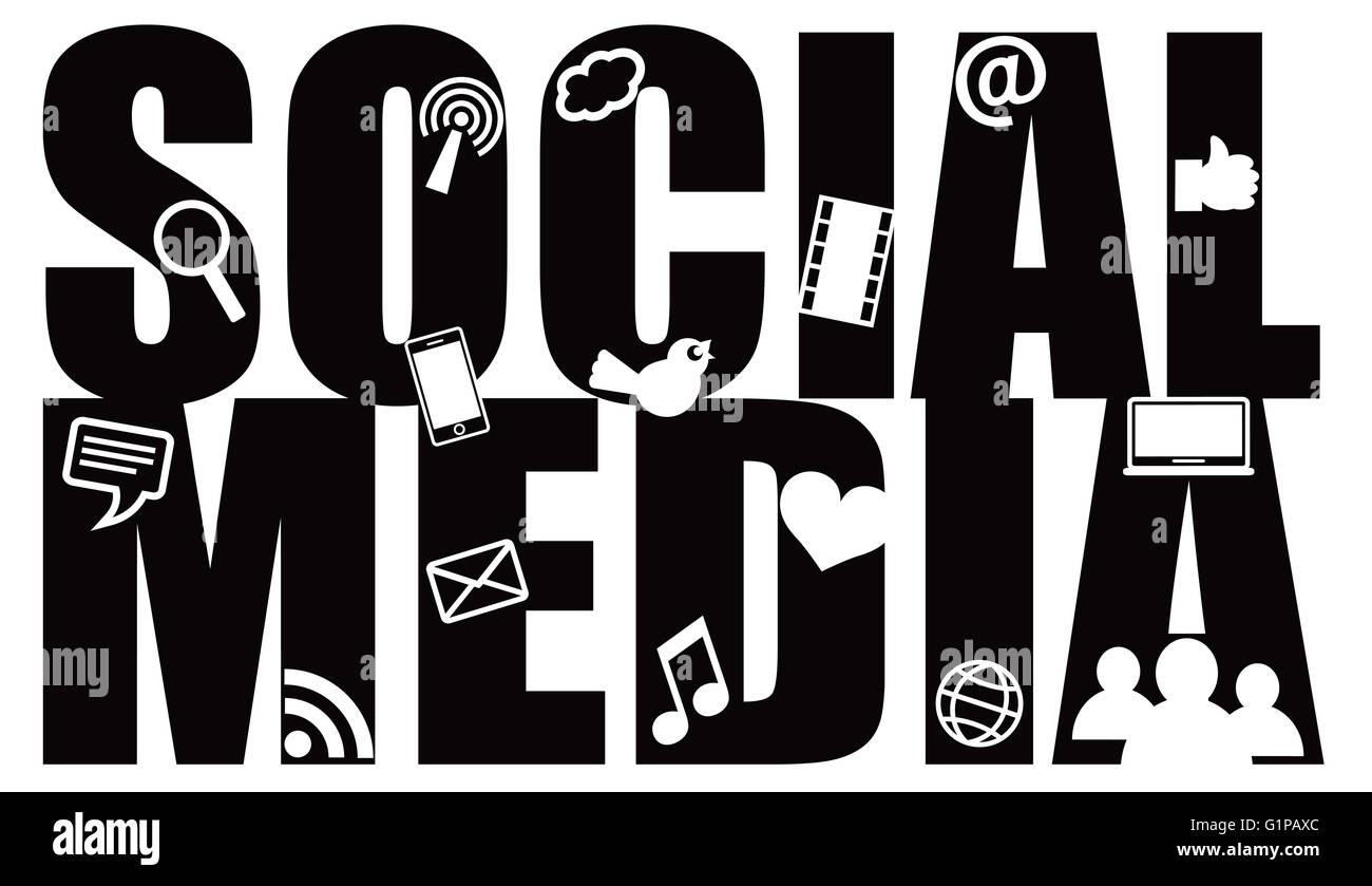 Social Media Text Outline With Symbols Black Isolated On White Stock
