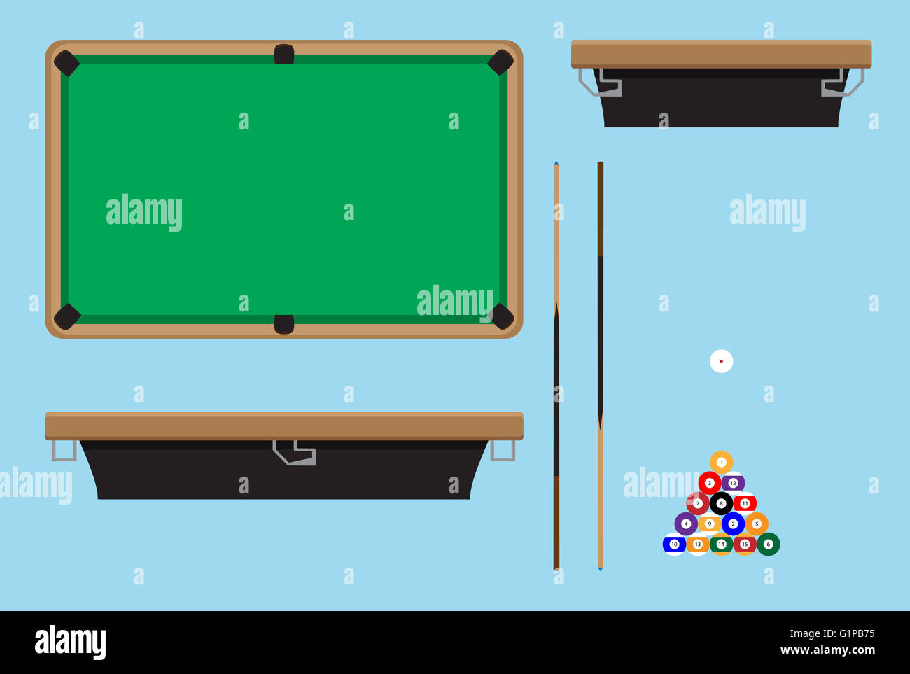 Pool Table Top Side. Billiard Table And Snooker Table, Game Room Snooker,  Hobby Game Pool And Leisure Snooker Competition. Vecto