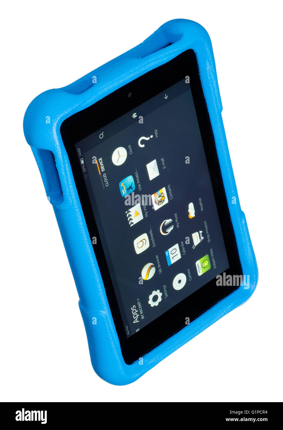Kindle Fire for kids. Child orientated tablet computer with blue rubberised plastic cover for protection. - Stock Image