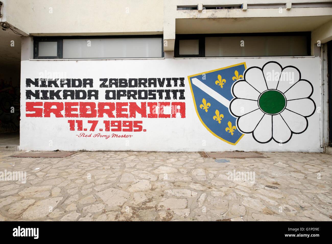 A mural commemorating the Srebrenica massacre that occurred during the Croat–Bosniak, Mostar, Bosnia-Herzegovina - Stock Image