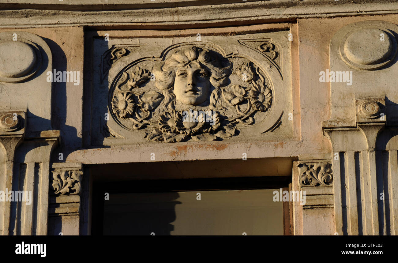 Art Nouveau. Russia. Relief in a Suvorovsky street building. Saint Petersburg. - Stock Image