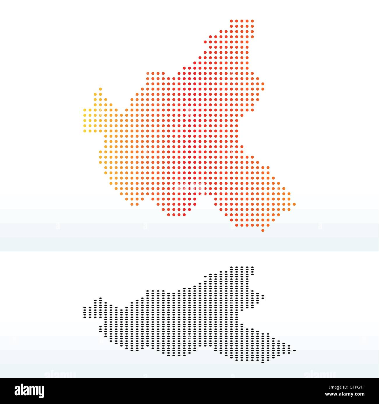 Map of Hamburg, Germany with Dot Pattern - Stock Vector
