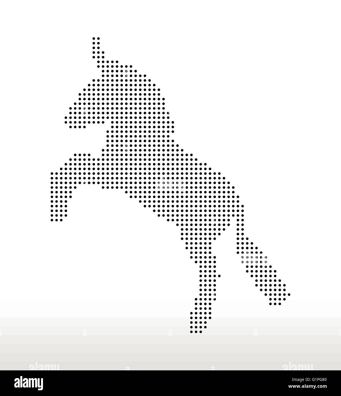 Vector Image, donkey silhouette, in rear pose, isolated on white background - Stock Vector