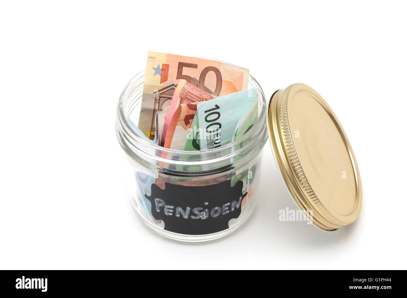 A jar filled with money with the dutch word for pension written on the label - Stock Image