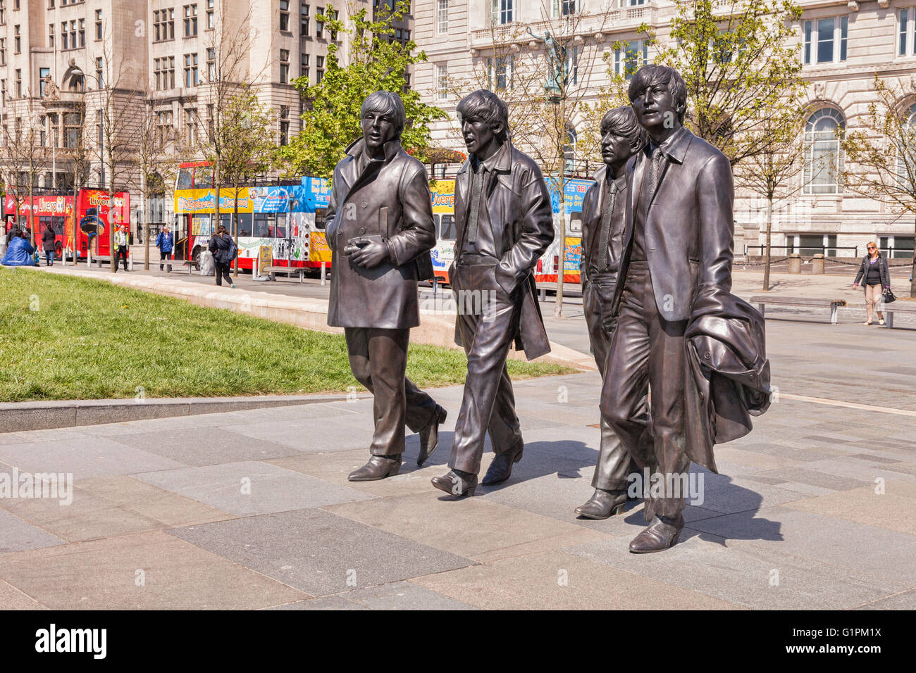 Beatles statues, by sculptor Andrew Edwards, on the Liverpool waterfront, England, UK - Stock Image