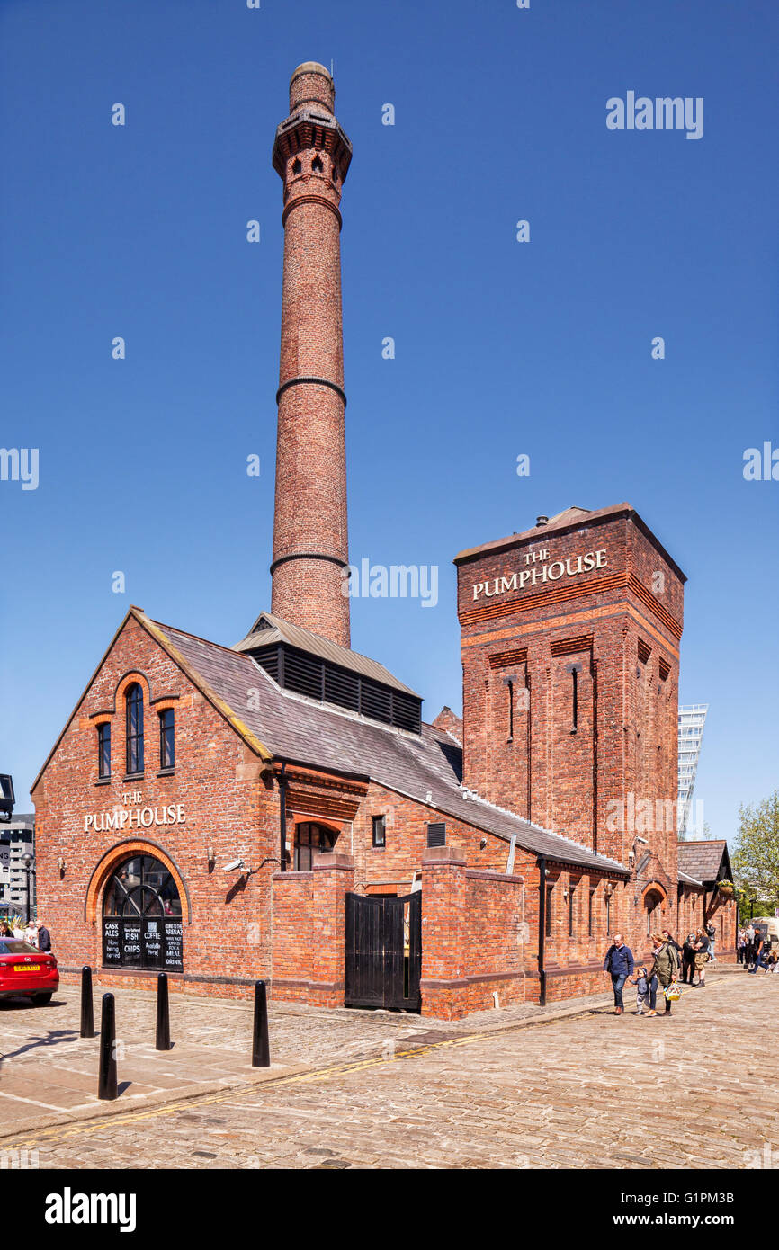 The Pumphouse, a Victorian pump house on Hartley's Quay in the Albert Dock area of Liverpool's waterfront, - Stock Image