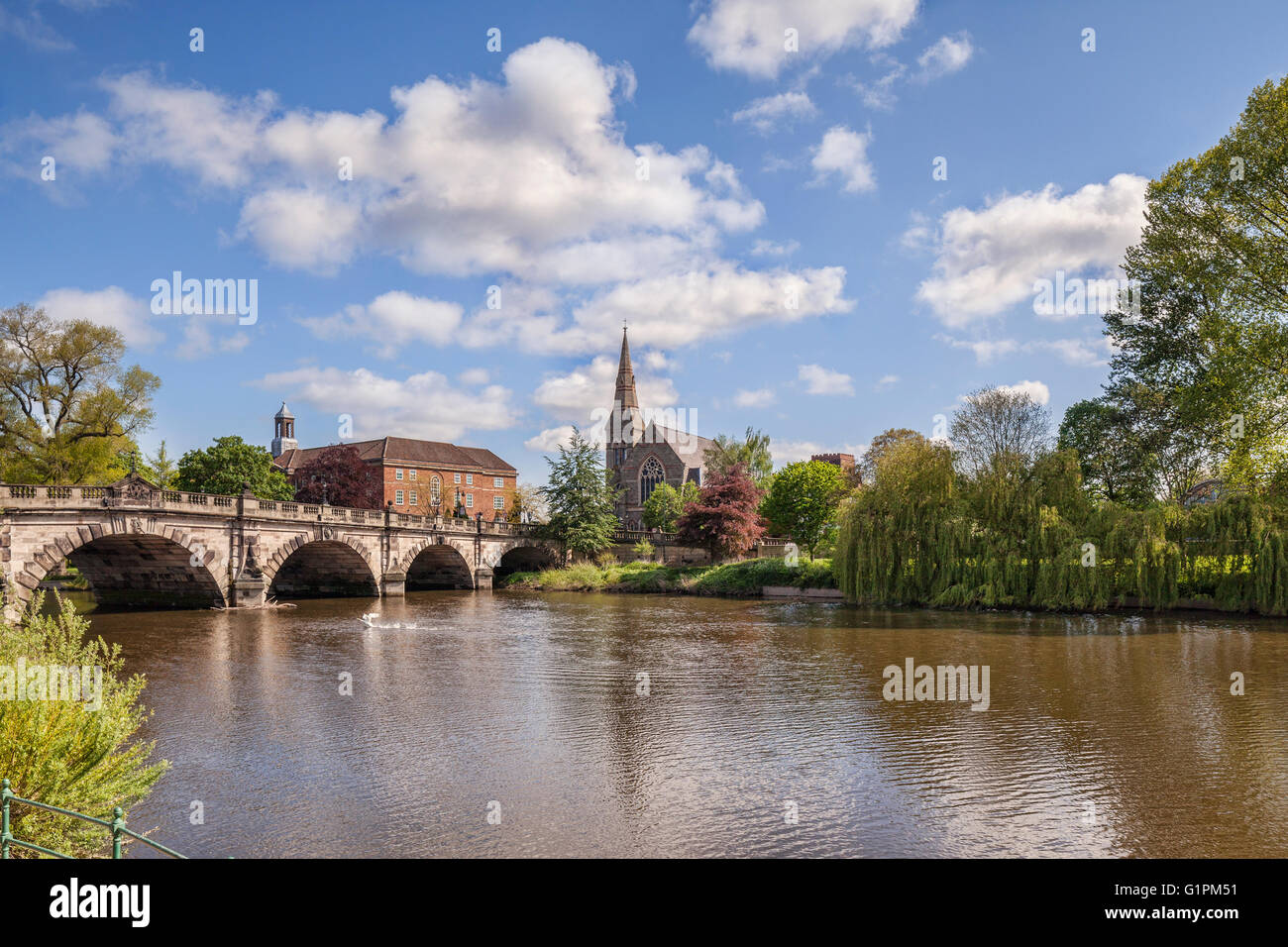The English Bridge on the River Severn, Shrewsbury, Shropshire, England, UK - Stock Image