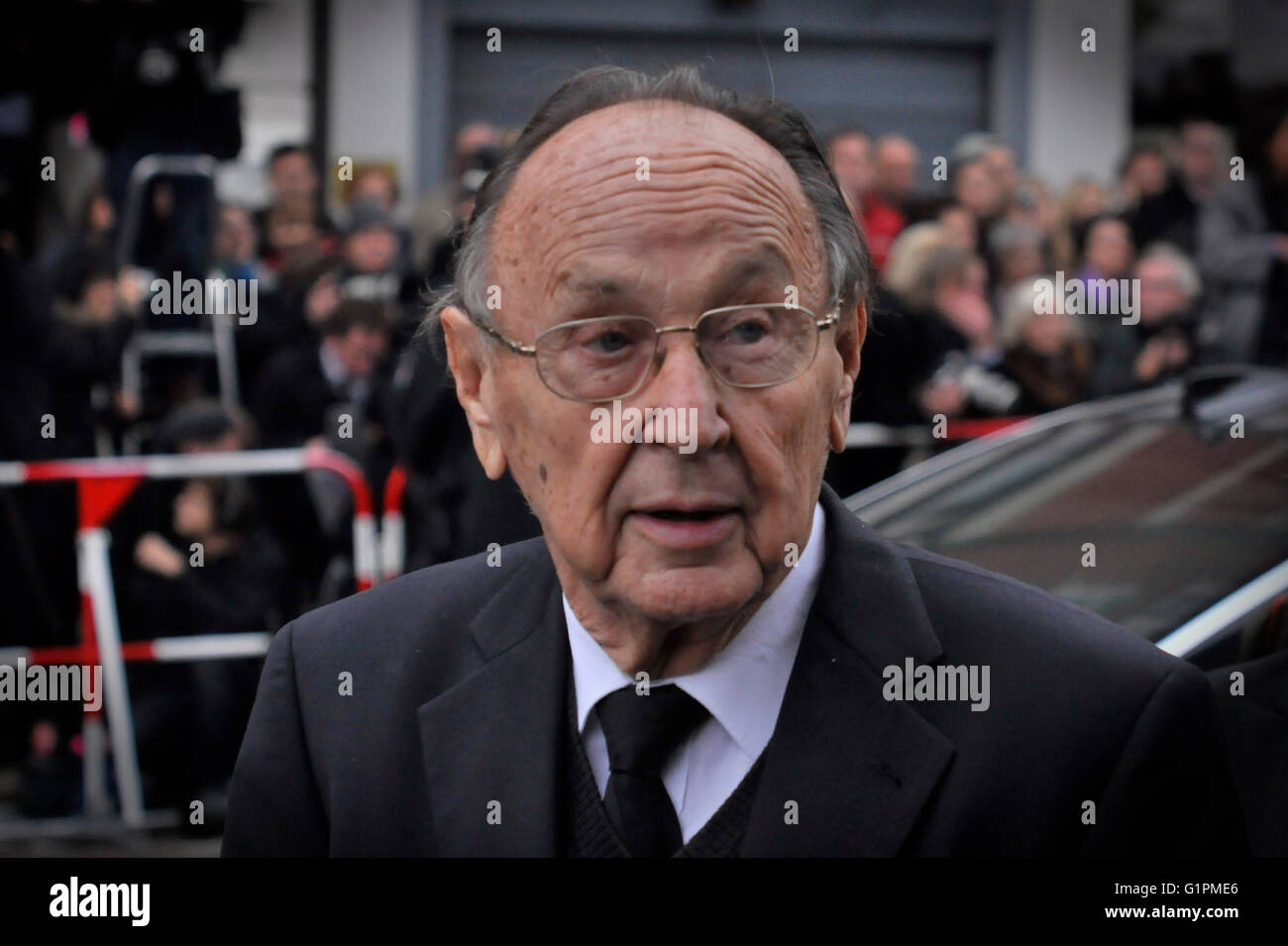 Ex- Außenminister Hans-Dietrich Genscher bei Trauerfeier für Loki Schmidt, Hamburg, Deutschland. Editorial - Stock Image