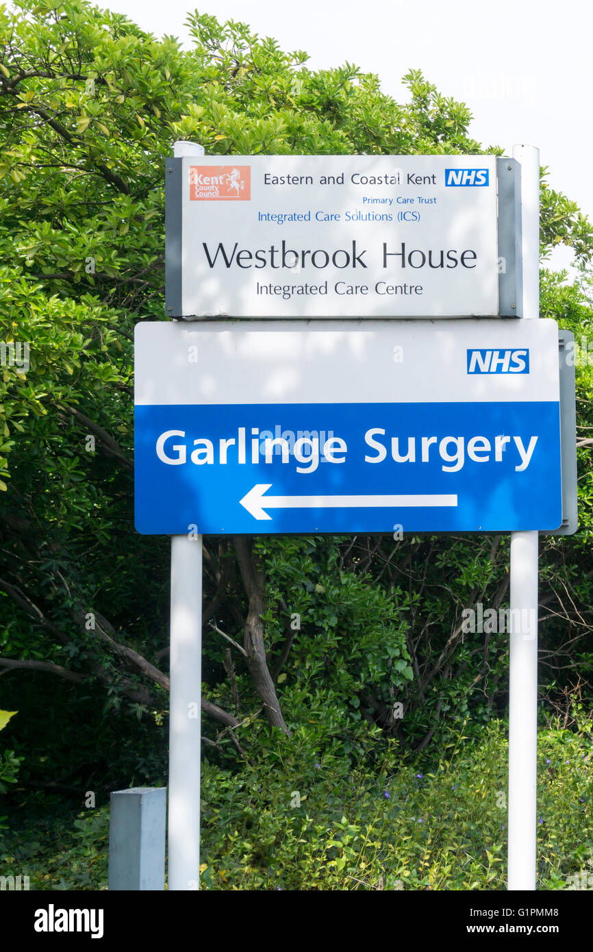 Sign for Eastern and Coastal Kent Primary Care Trust Westbrook House and Garlinge Surgery in Margate, Kent. - Stock Image