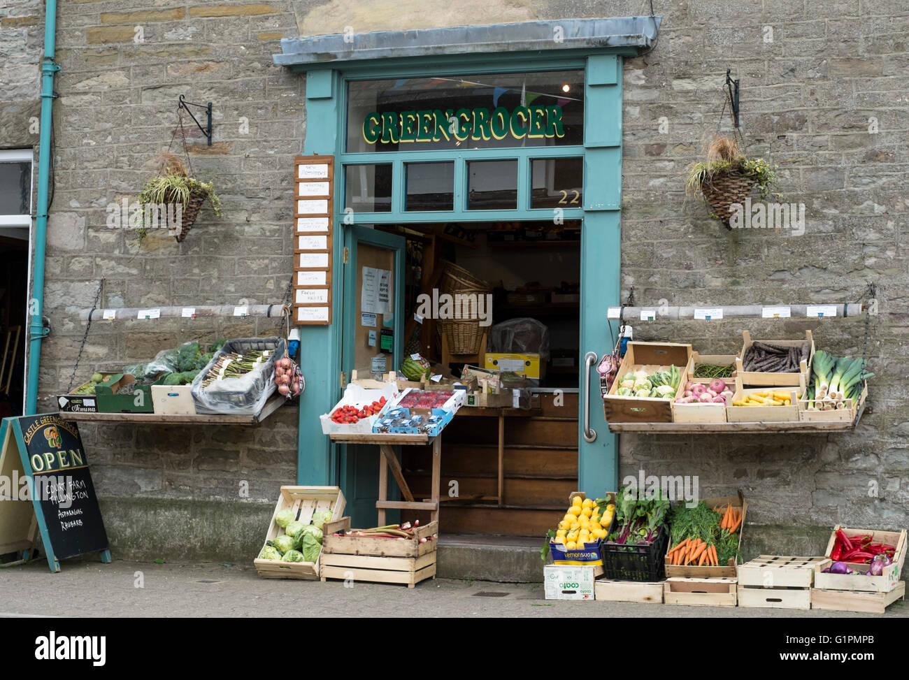 Hay-on-Wye a small town famous for book shops and a literary festival in Powys Wales UK. Hay Green Grocer - Stock Image