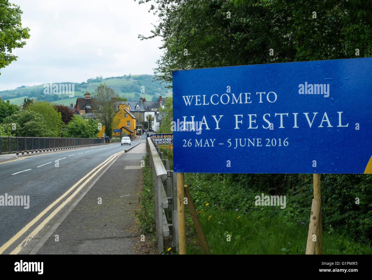 Hay-on-Wye a small town famous for book shops and a literary festival in Powys Wales UK. Welcome to Hay Festival - Stock Image