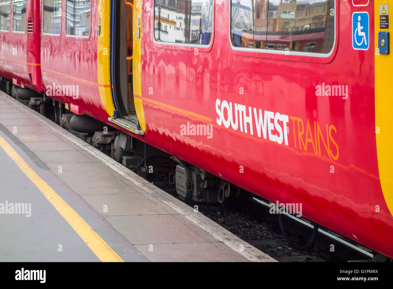 South West trains service at London Waterloo Station, UK. - Stock Image