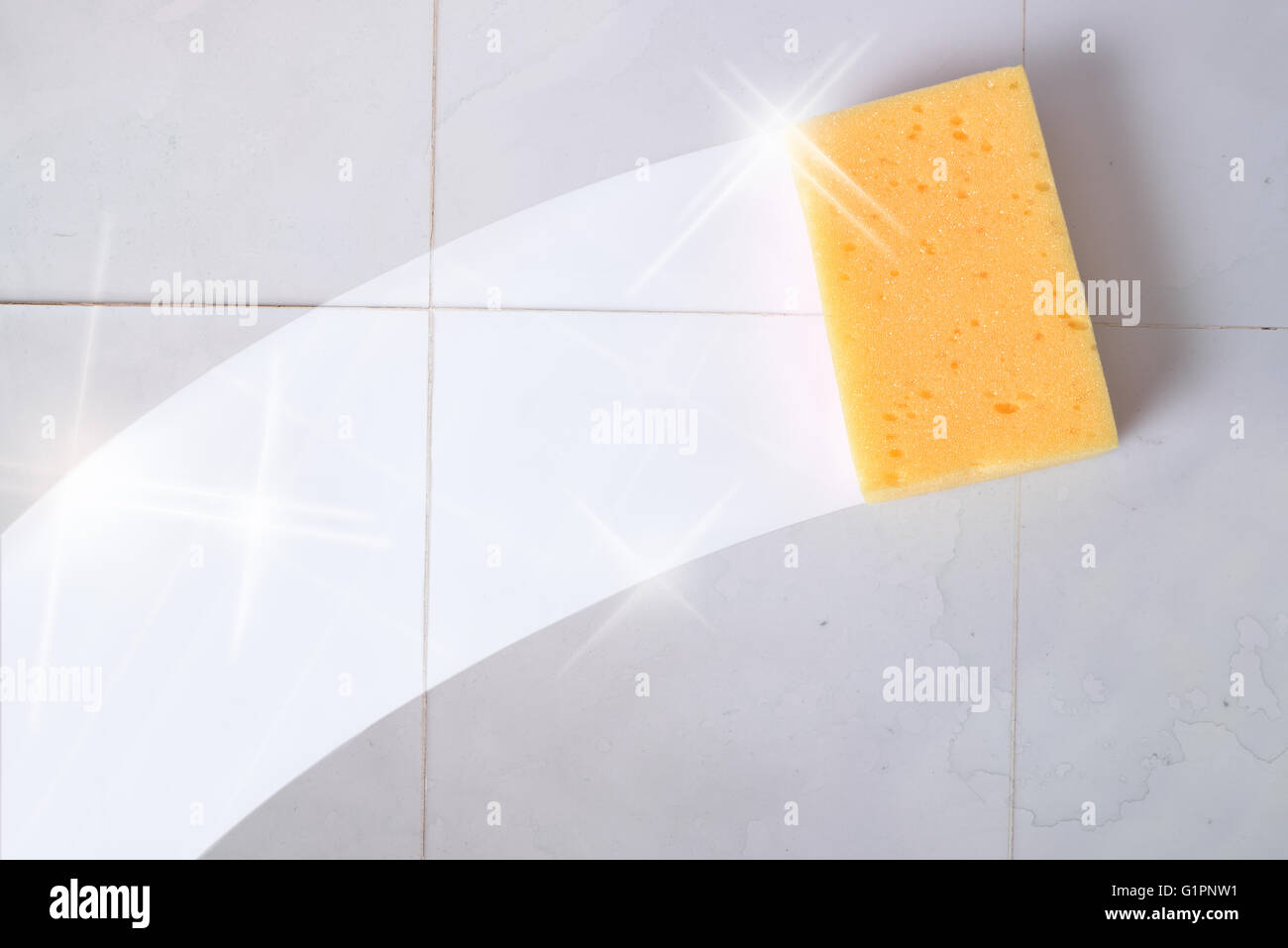 Cleaning concept trace yellow sponge on a dirty gray wall tiles. Horizontal composition. - Stock Image