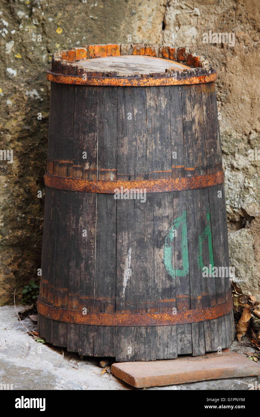 Old wine barrel in wine canteen - Stock Image