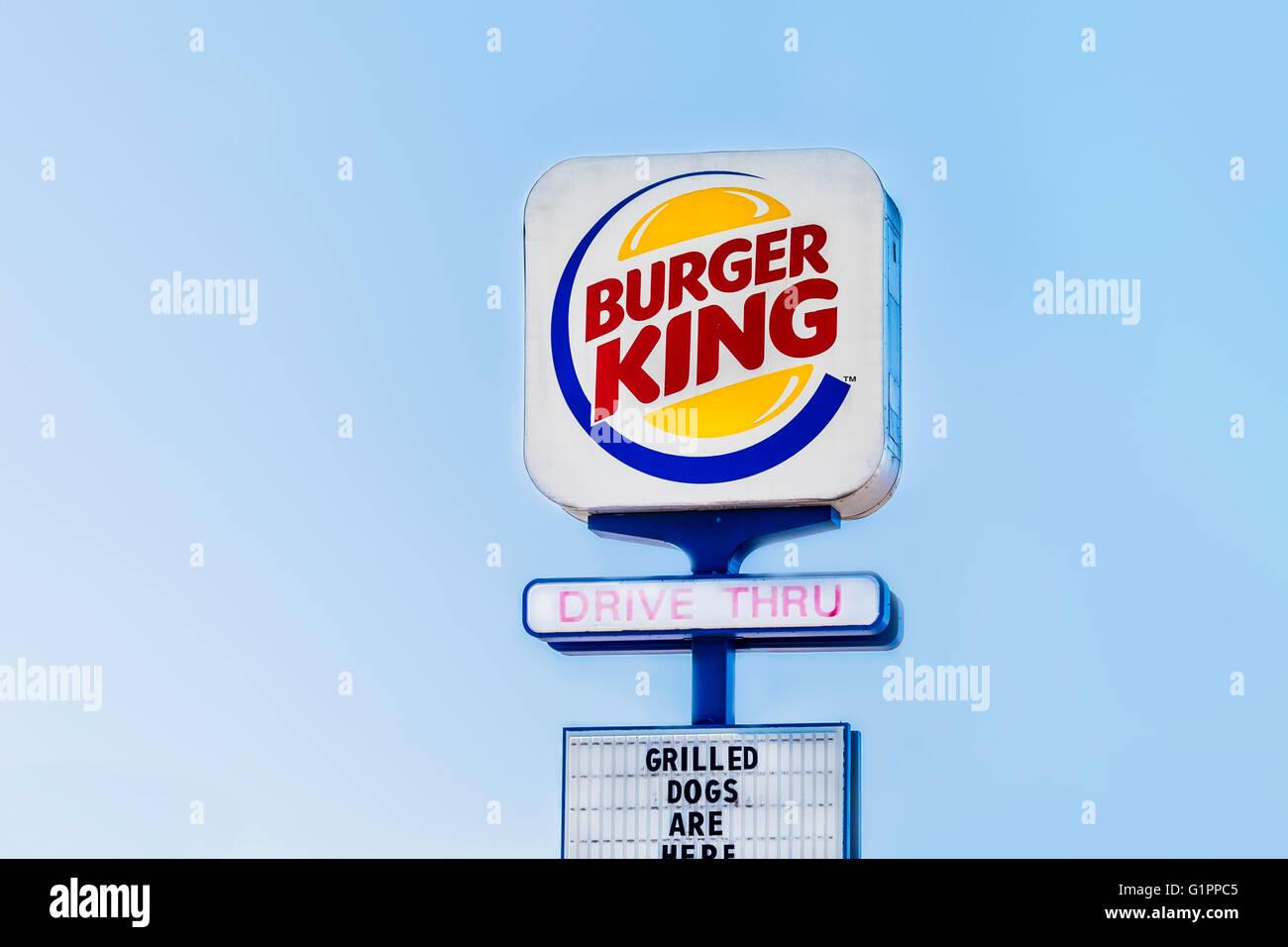 A Pole Sign Advertising Burger King Fast Food Hamburger Restaurant In Oklahoma City USA