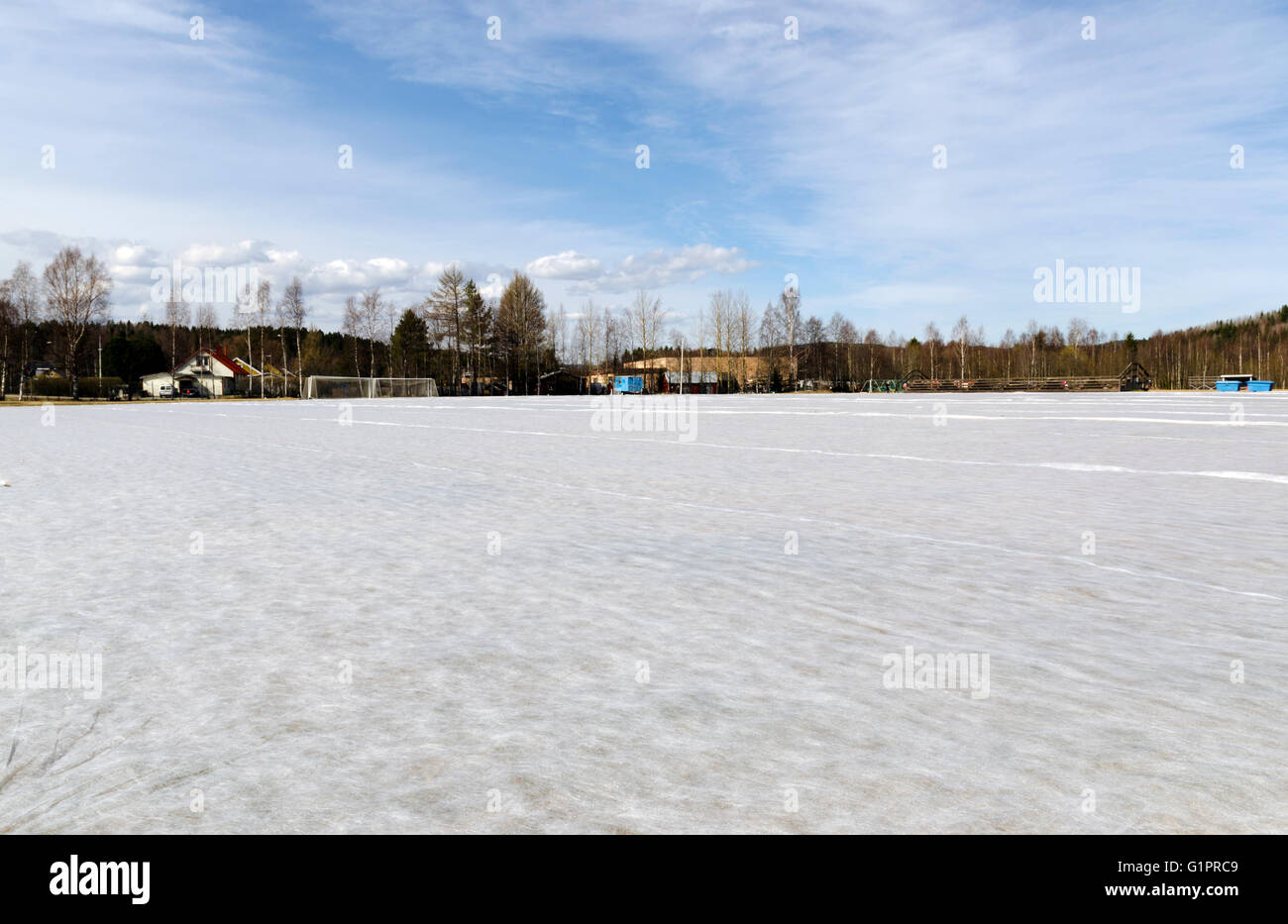 Fiber cloth on a football arena to stimulate the growth of the grass, picture from the North of Sweden. - Stock Image