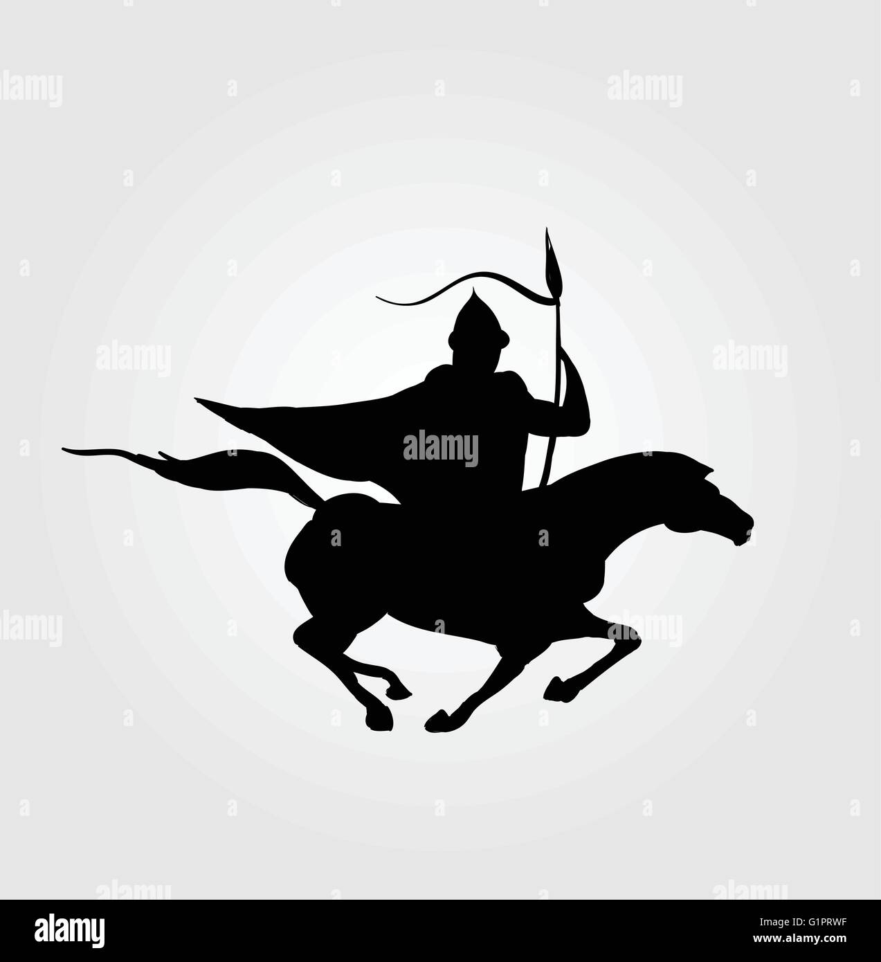 vector symbol of a horseman warrior stock vector art illustration