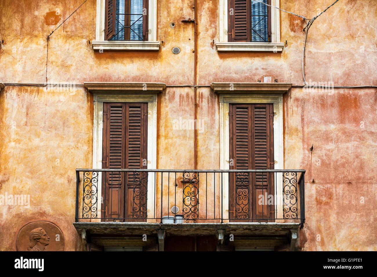Balcony in Verona Italy - Stock Image