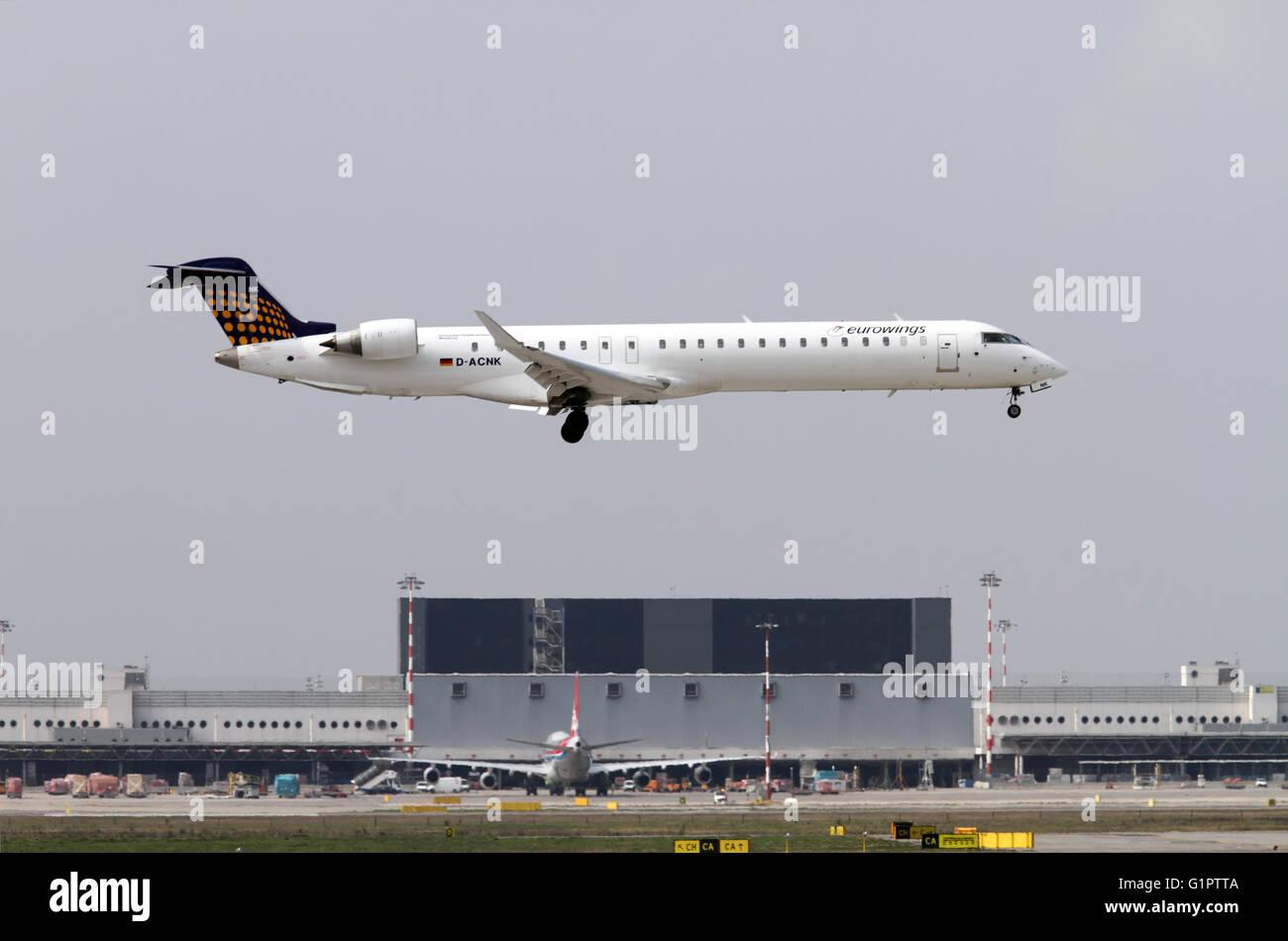 Eurowings, Canadair CRJ-900 Photographed at Malpensa airport, Milan, Italy - Stock Image