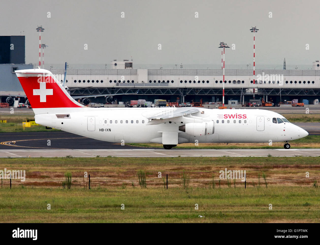 Swiss International Air Lines, British Aerospace Avro 146-RJ100. Photographed at Malpensa airport, Milan, Italy - Stock Image