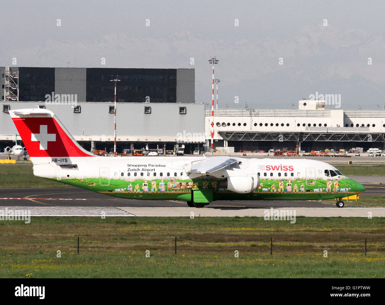 Swiss Global Air Lines, British Aerospace Avro 146-RJ100. Photographed at Malpensa airport, Milan, Italy - Stock Image