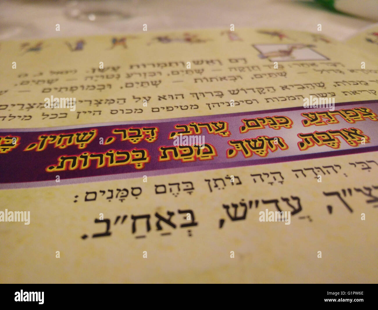Close up of the Passover Haggadah - Stock Image