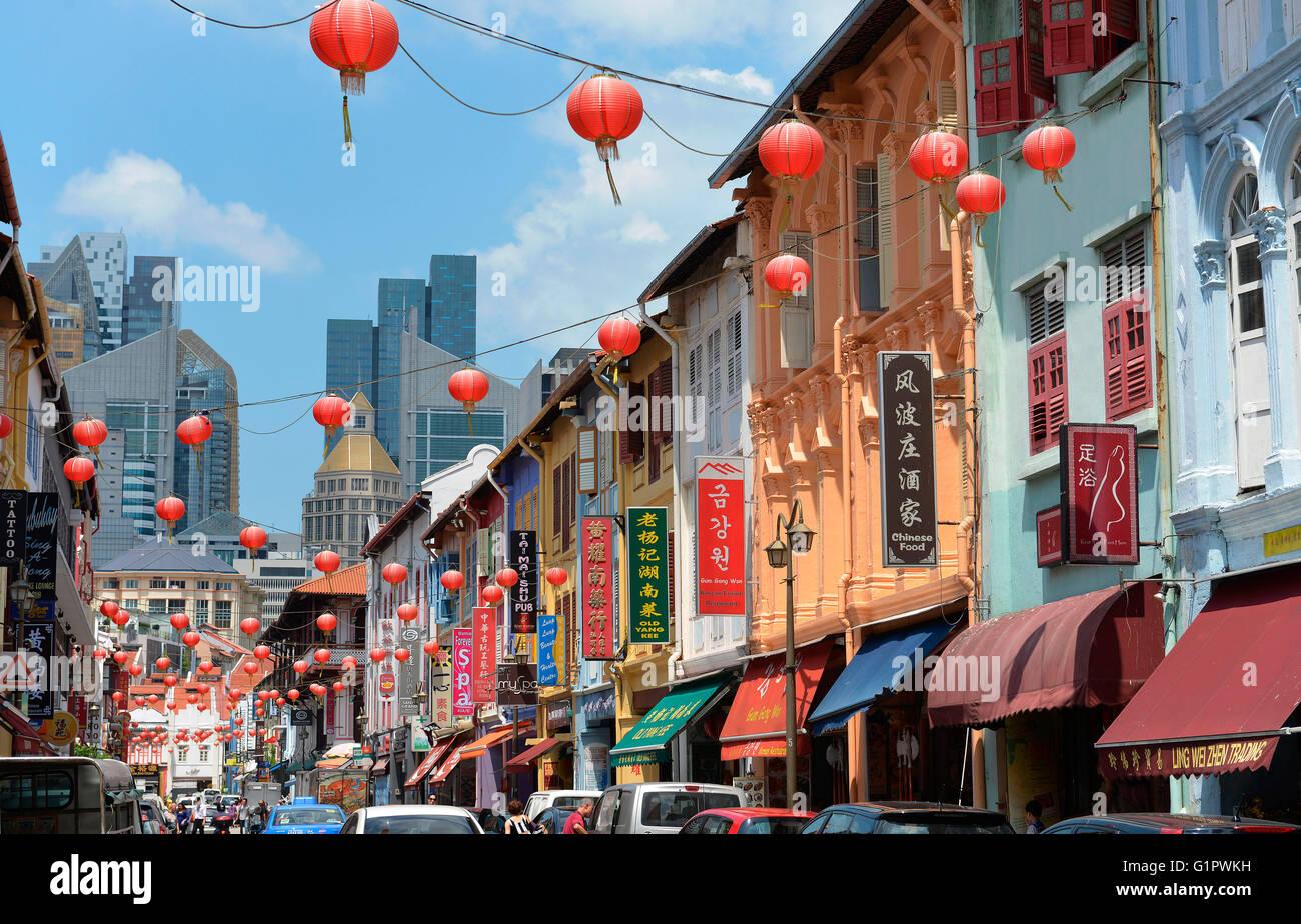 Temple Street, Chinatown, Singapur - Stock Image