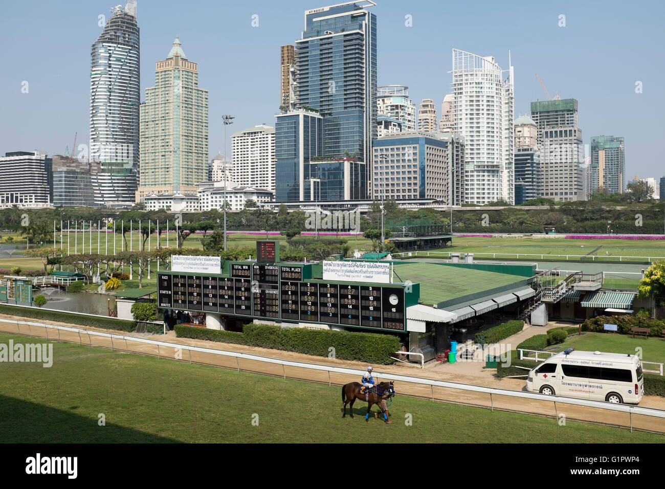 Horse Racing at the Royal Bangkok Sports Club in Bangkok Thailand - Stock Image