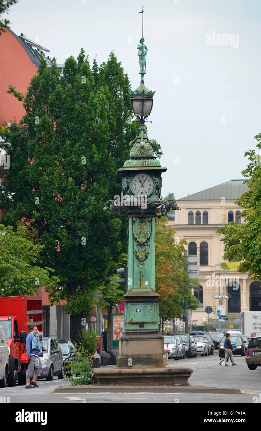 clock tower, Friedberger Anlage, Frankfurt on the main, Hesse, Germany Stock Photo