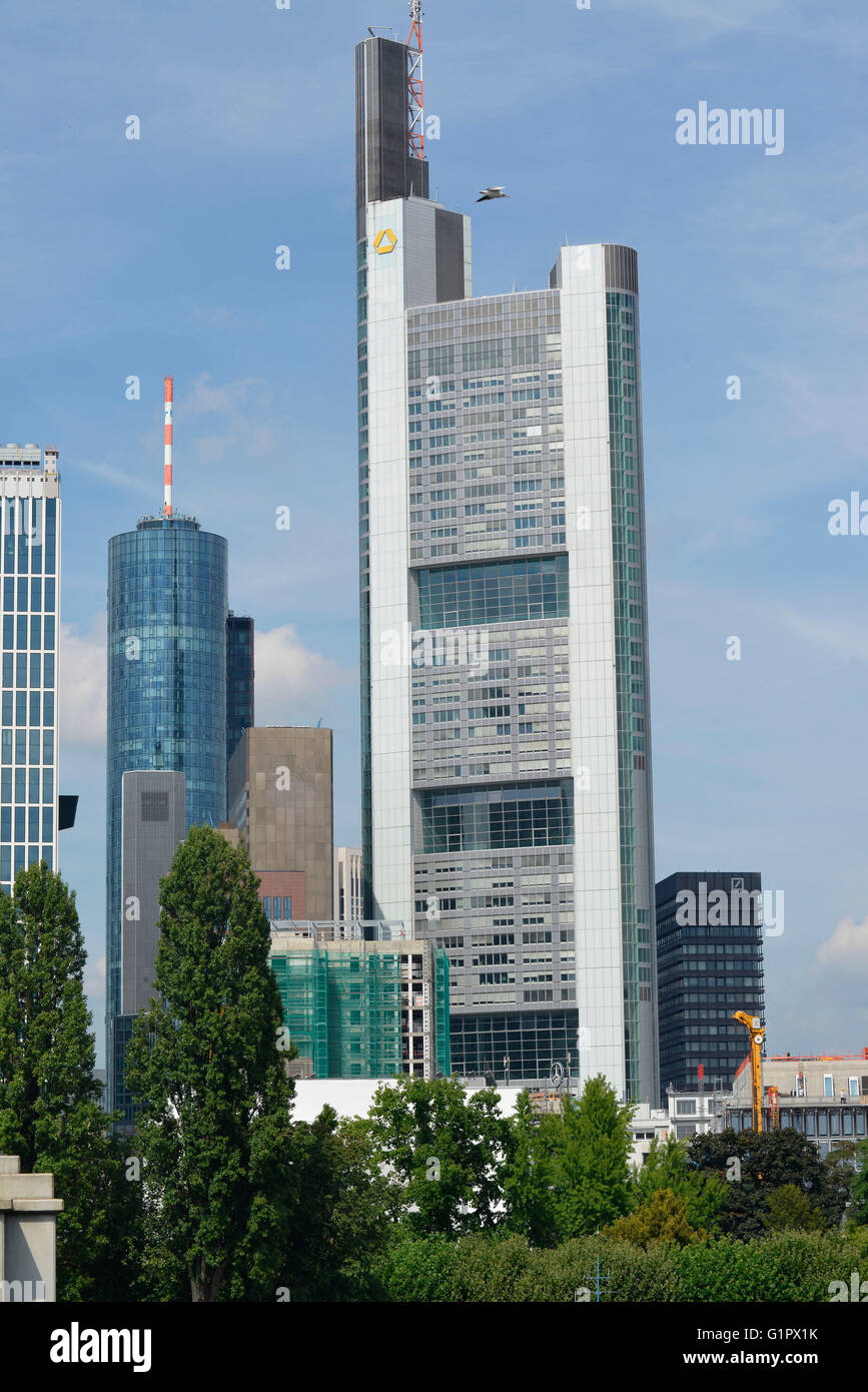 Commerzbank Tower, Grosse Gallusstrasse, Frankfurt on the main, Hesse, Germany Stock Photo