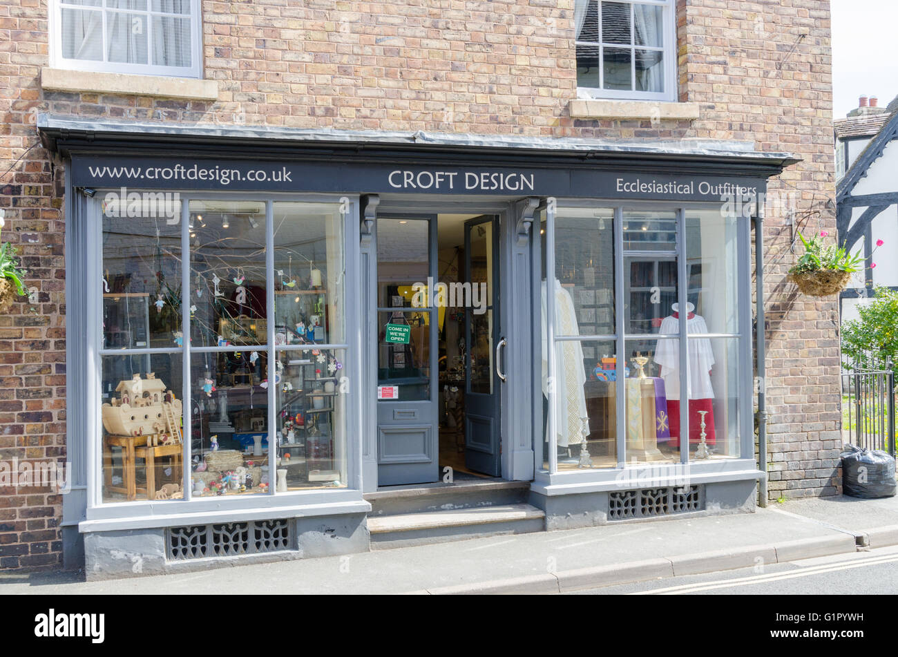 Croft Design Ecclesiastical Outfitters shop in Much wenlock, Shropshire - Stock Image