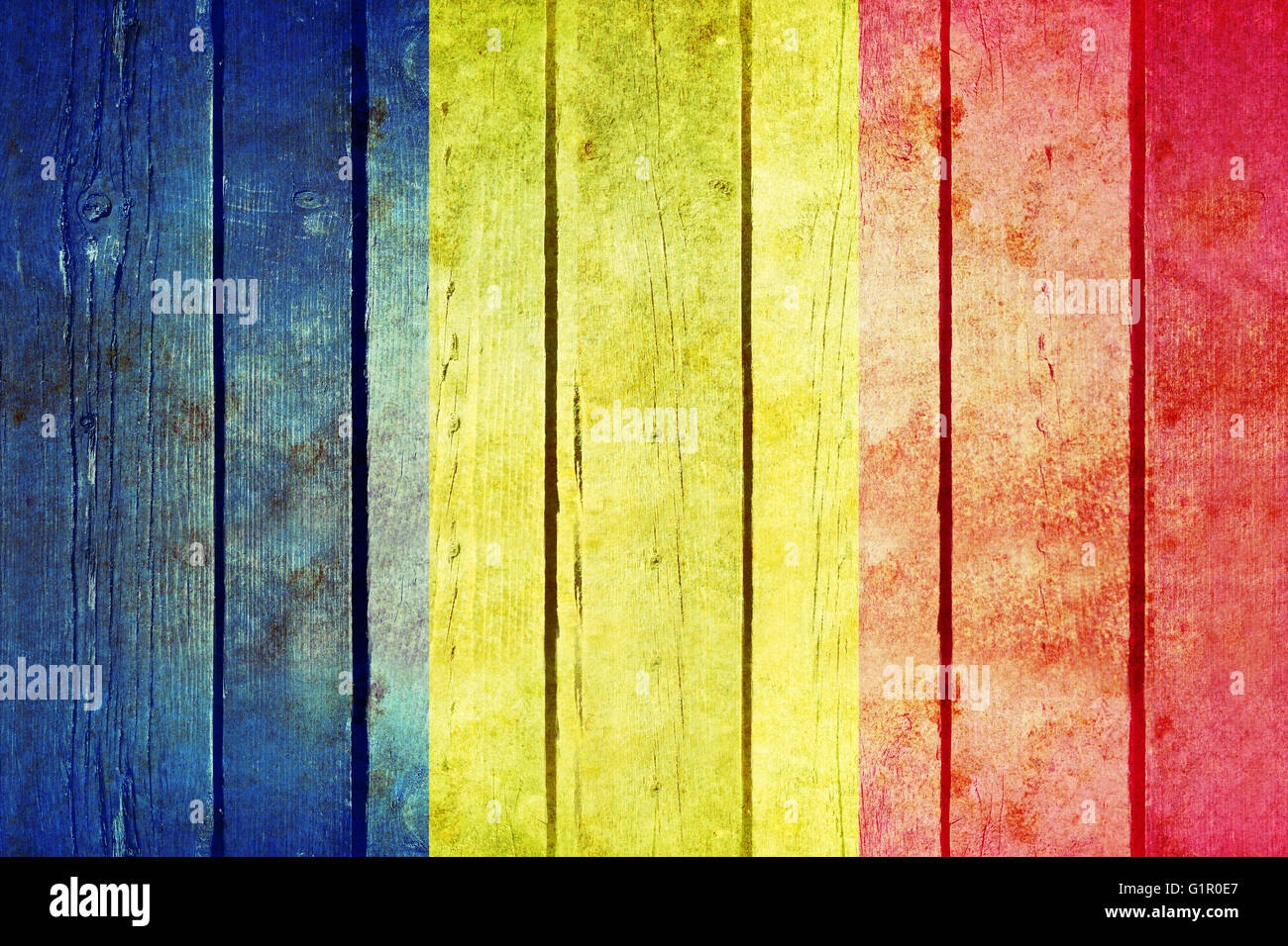 Romania Wooden Grunge Flag Romania Flag Painted On The Old