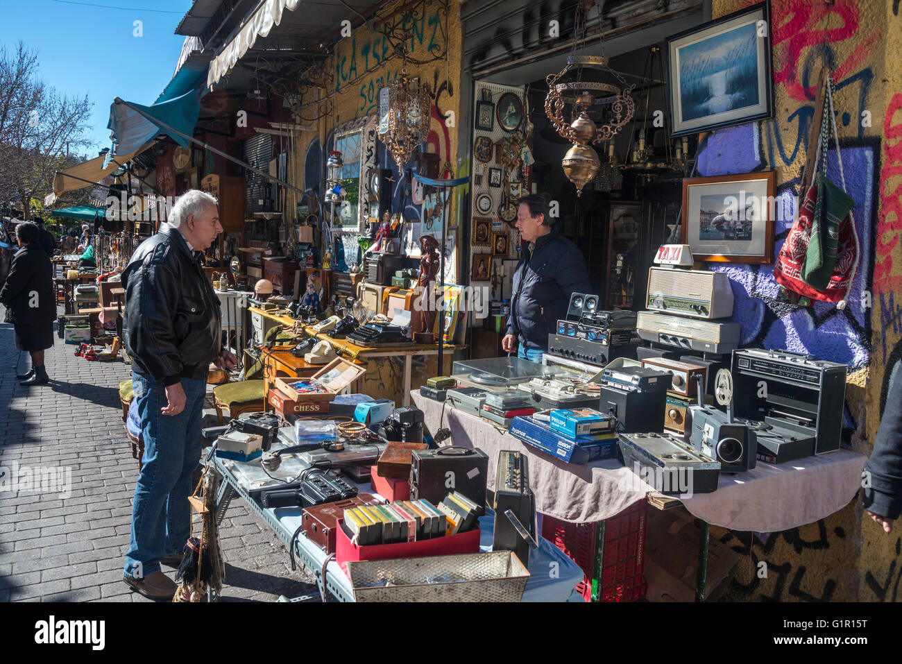 The antiques and bric-a-brac market at Monastiraki, in the centre of Athens, Greece - Stock Image
