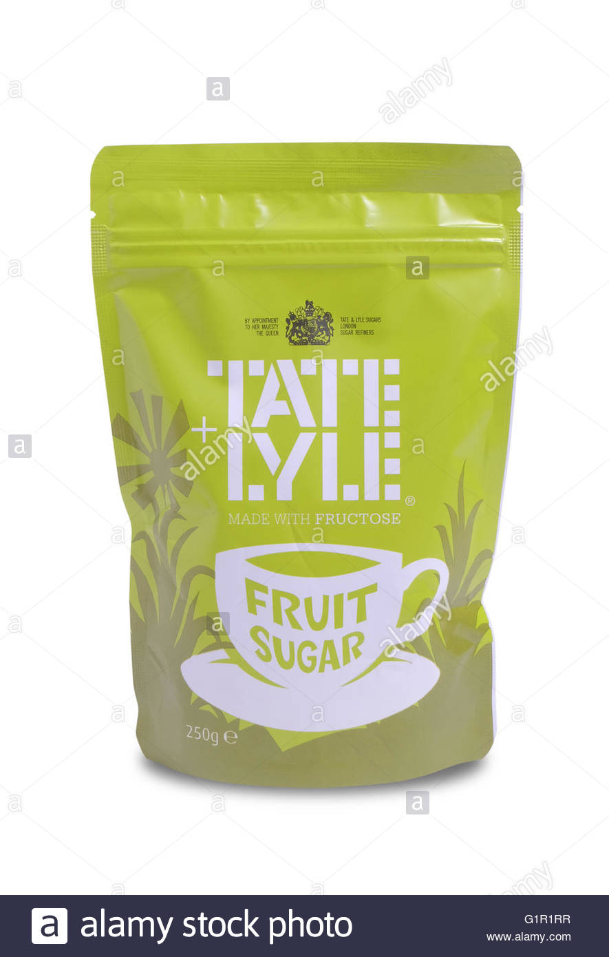 Pack of Fruit Sugar made by Tate and Lyle. a refined sugar made with fructose. isolated on white background with - Stock Image
