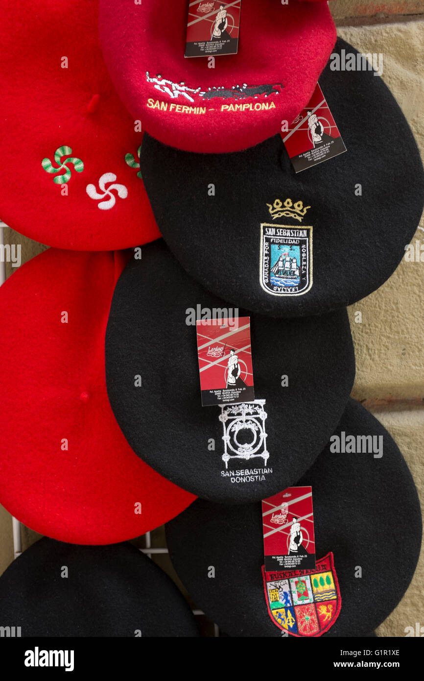 9b45dcfc7b980 Traditional Basque Hats or Berets on Sale as Souvenirs in Bilbao ...