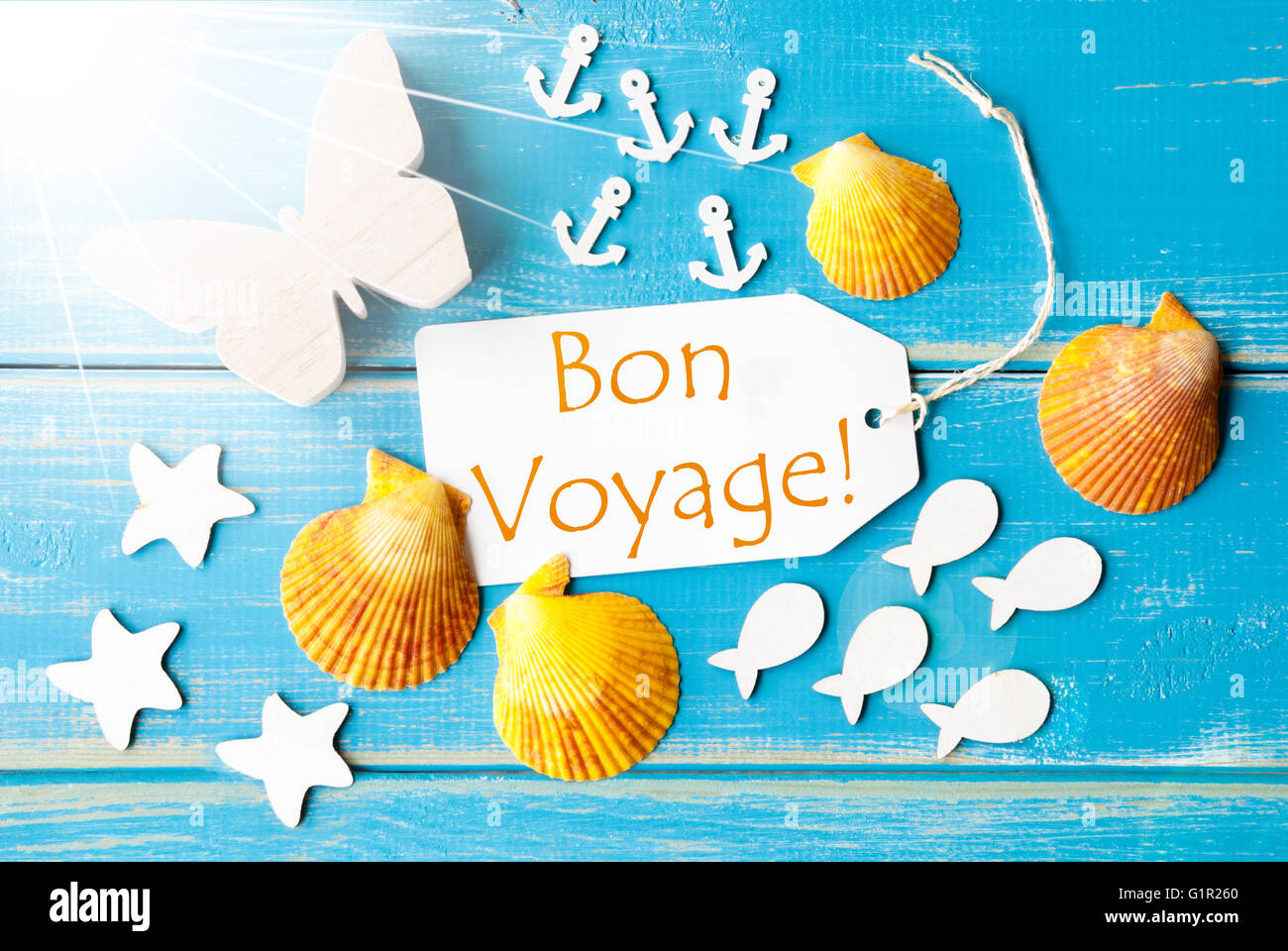 Sunny summer greeting card with bon voyage means good trip stock sunny summer greeting card with bon voyage means good trip m4hsunfo