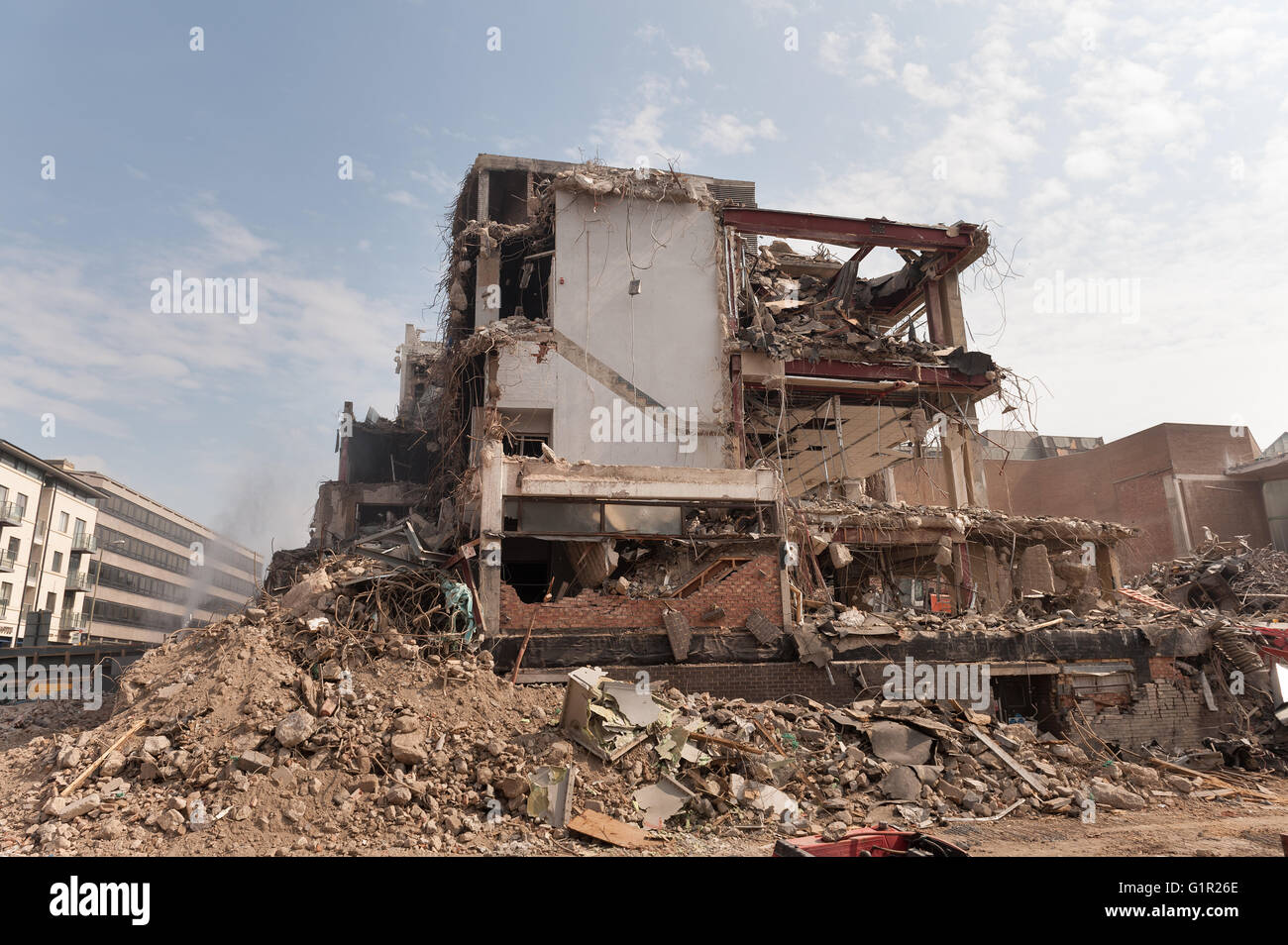 Destruction demolition of westgate shopping center Oxford like a war zone of blown up buildings in city sprayed - Stock Image
