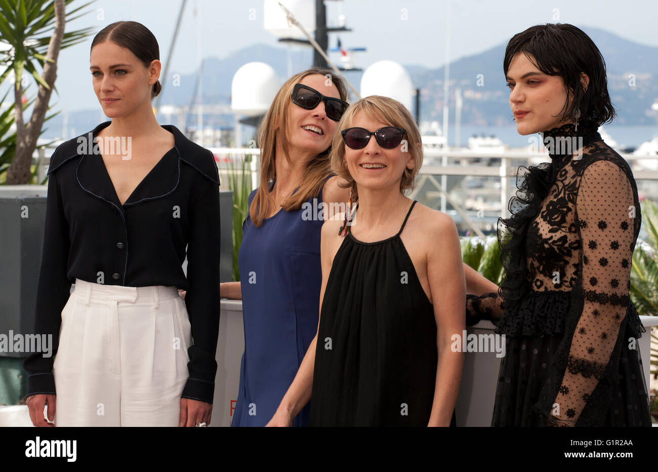 Actress Ariane Labed, Directors Delphine Coulin and Muriel Coulin and actress Soko at the The Stopover (Voir Du - Stock Image