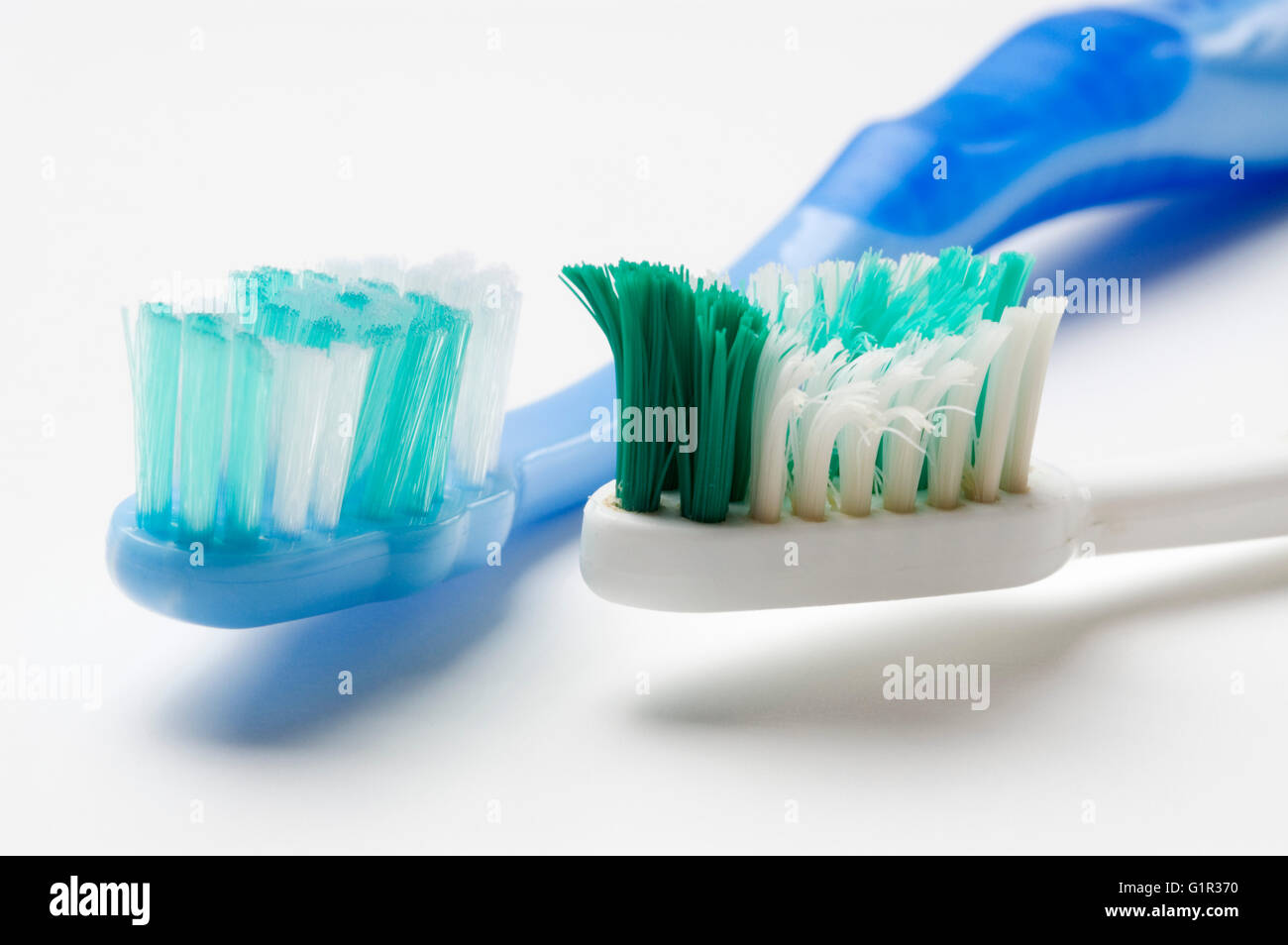 New and used toothbrush Stock Photo