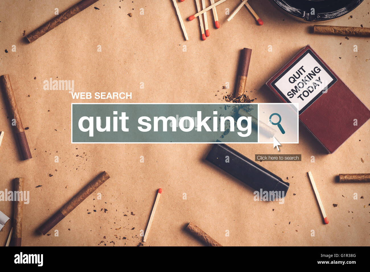 Quit smoking web search box glossary term on internet - Stock Image