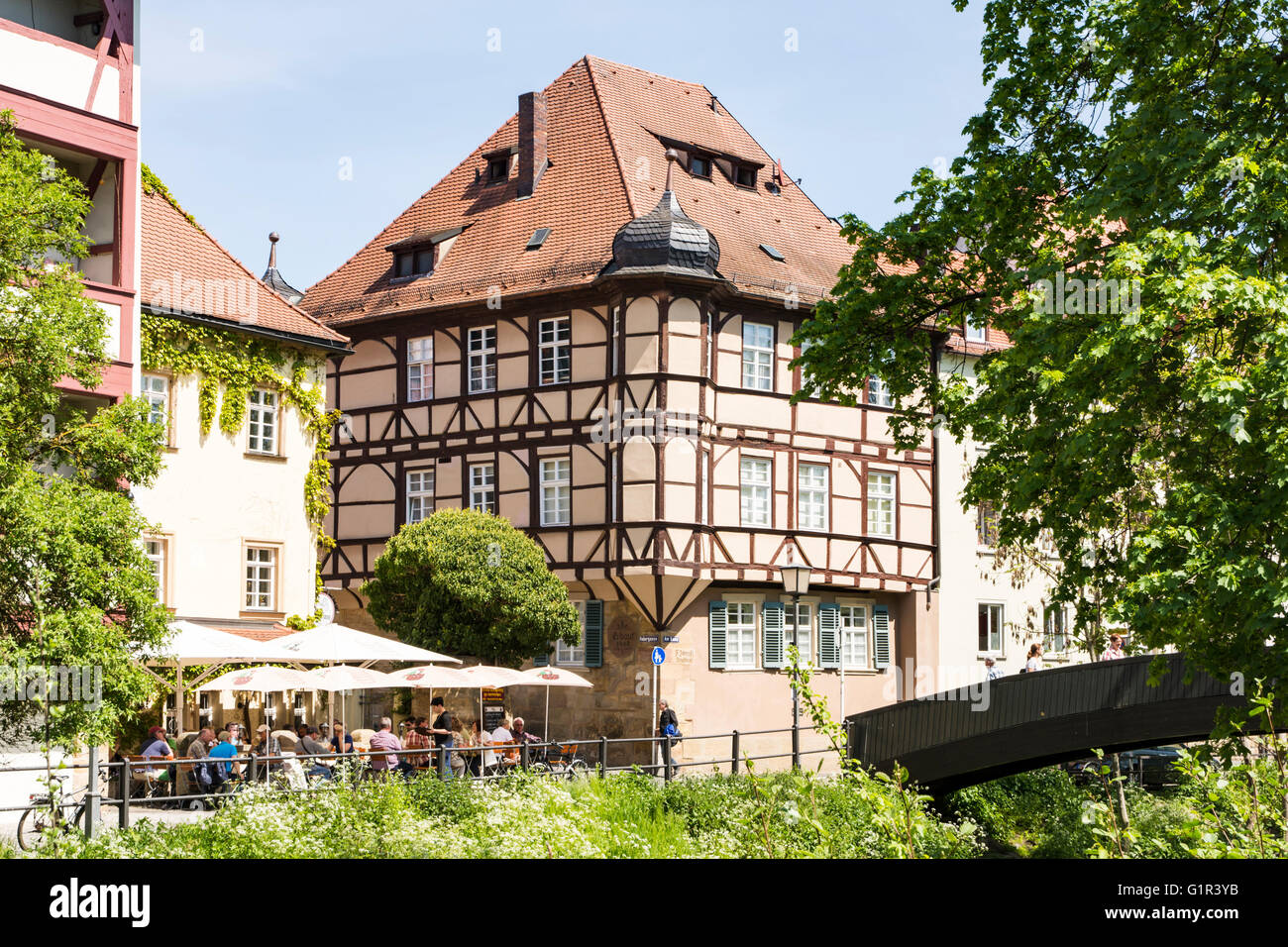 Tourists at a cafe in Bamberg, Germany on Mai 6, 2016. - Stock Image