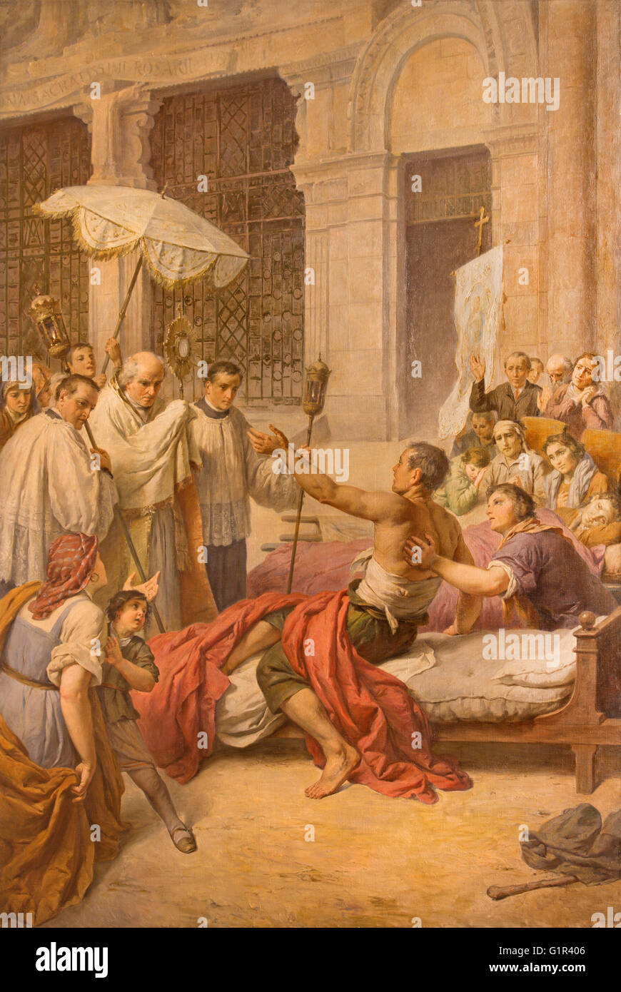 ROME, ITALY - MARCH 9, 2016: The Healing of a Sick person fresco by Aurelio Mariani (1931) in chapel of Our Lady - Stock Image