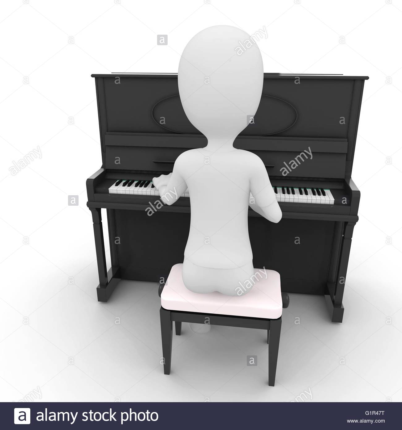3d man playing piano isolated on white - Stock Image