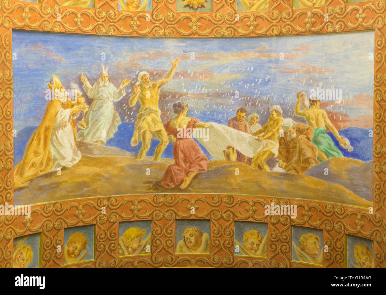 ROME, ITALY - MARCH 10, 2016: The fresco The Jews Gathering the Manna in the Desert (1957-1965) - Stock Image