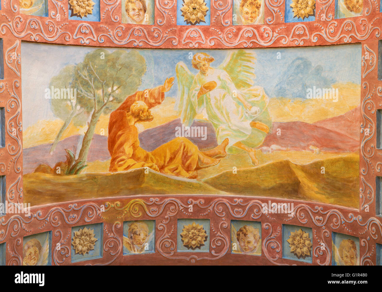 ROME, ITALY - MARCH 10, 2016: The fresco The Prophet Elijah Receiving Bread and Water from an Angel (1957-1965) - Stock Image