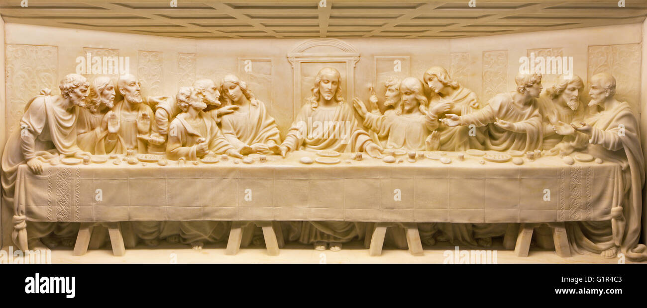 ROME, ITALY - MARCH 10, 2016: The Last Supper marble relief on the altar of church Basilica di Santa Maria Ausiliatrice - Stock Image